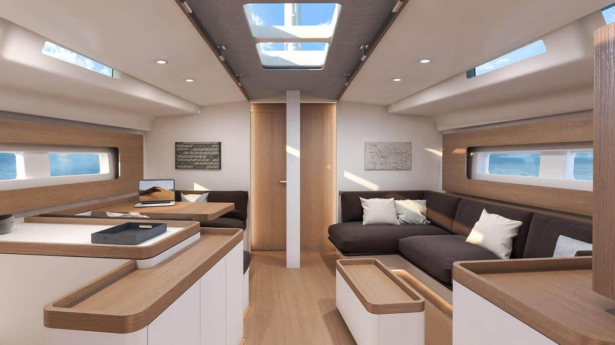 First Yacht 53 salón interior