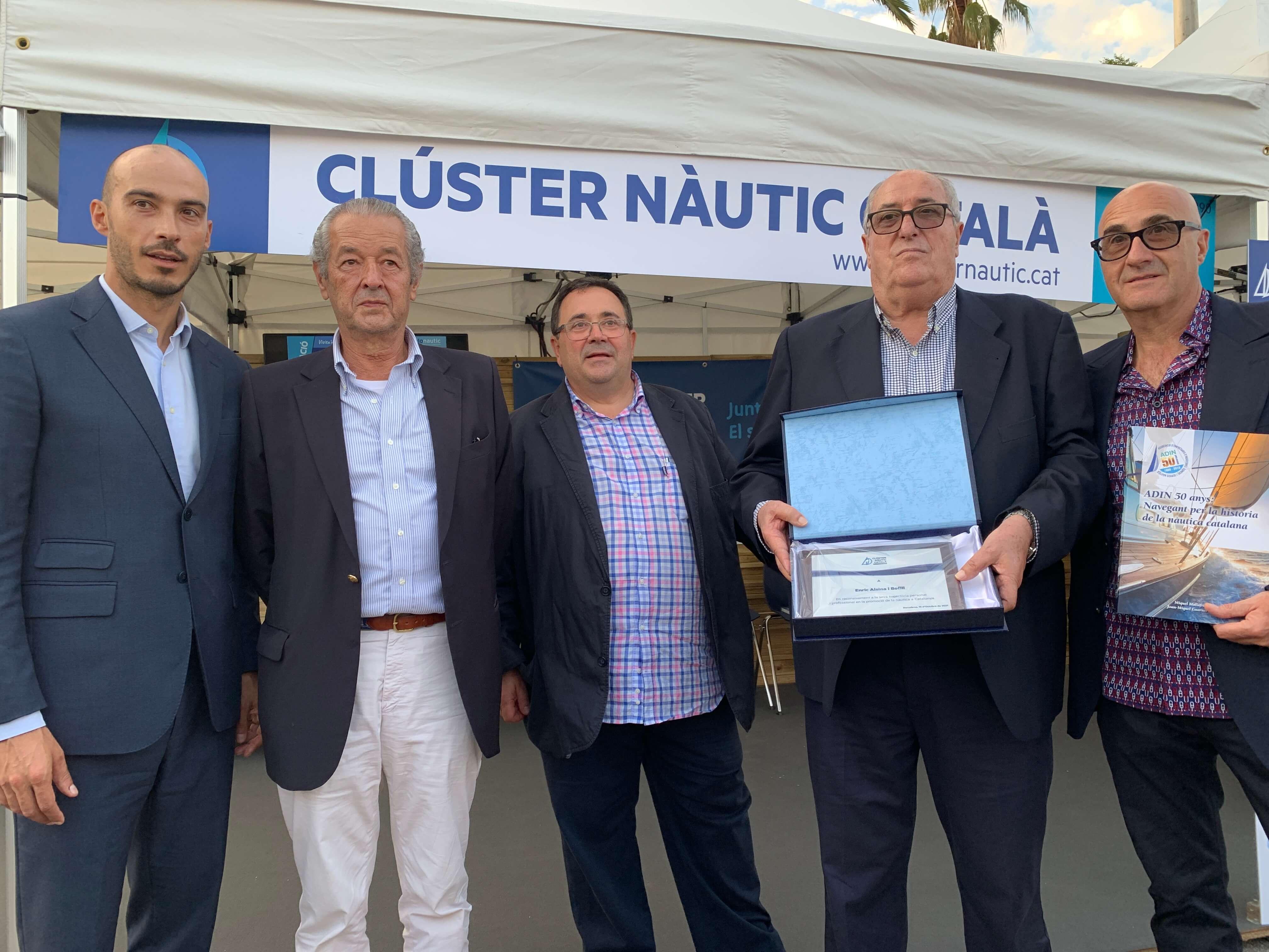 Entrega de las distinciones de socios de honor 2021 a Enric Alsina de nautica palamós, a Concha Morenilla y Enric Penalba de comercial skualo y a Miquel Nicolau de astilleros nicolau.